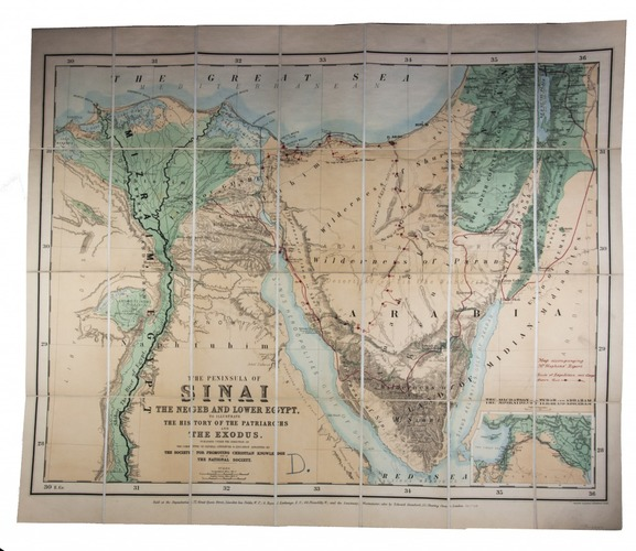 Chromolithographed map of the Sinai Peninsula and northeast Egypt